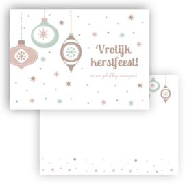 Mini kerst kaart Vrolijk kerstfeest kerstballen ( PER 5 STUKS )