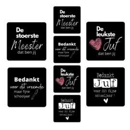 Assorti Stickerrol JUF MEESTER BEDANKT zwart ( rol met 500 stuks )