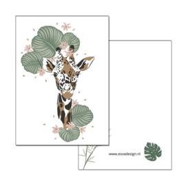 Kaart Jungle Giraffe hoofd ( PER 5 STUKS )
