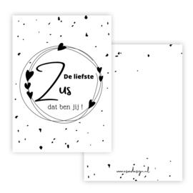 Kaart ZUS zwart/wit ( PER 5 STUKS )