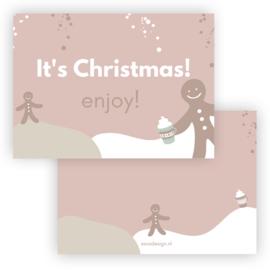 Mini kerst kaart It's Christmas! ( PER 5 STUKS )