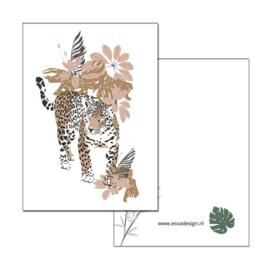 Mini kaartje Jungle Luipaard ( PER 5 STUKS )