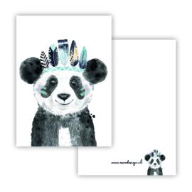 Lieve panda blauw ( PER 5 STUKS )