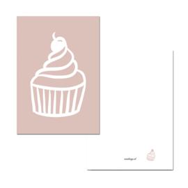 Mini kaartje cupcake roze ( PER 5 STUKS )