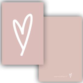 Mini kaartje hart roze ( PER 5 STUKS )