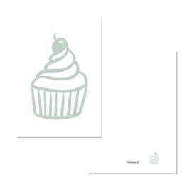 Mini kaartje cupcake groen/wit ( PER 5 STUKS )