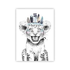 A4 poster Lieve leeuw blauw ( PER 2 STUKS )