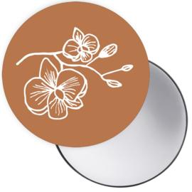 Spiegeltje Orchidee cognac ( PER STUK )