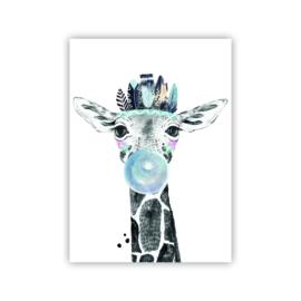 A4 poster Lieve giraffe blauw ( PER 2 STUKS )