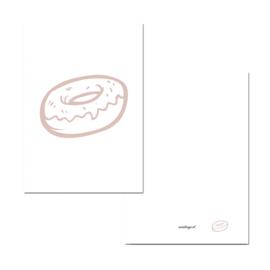 Mini kaartje donut roze/wit ( PER 5 STUKS )