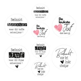 Assorti Stickerrol JUF MEESTER BEDANKT wit ( rol met 500 stuks )