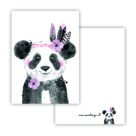 Lieve panda roze ( PER 5 STUKS )