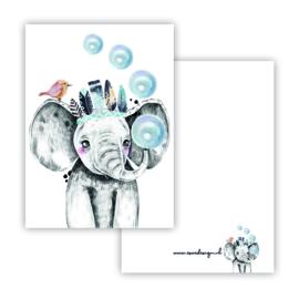 Lieve olifant blauw ( PER 5 STUKS )