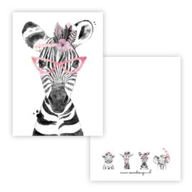 Kaart lieve zebra roze ( PER 5 STUKS )
