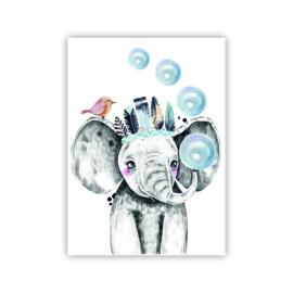 A4 poster Lieve olifant blauw ( PER 2 STUKS )