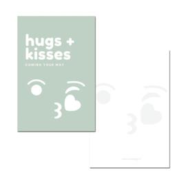 Hugs + Kisses groen   PER 5 STUKS )