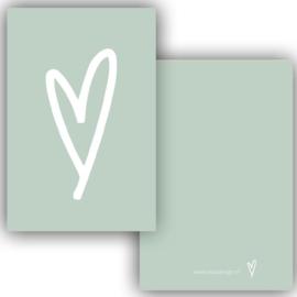 Mini kaartje hart groen ( PER 5 STUKS )