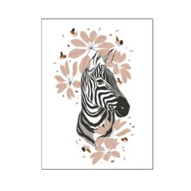 A4 poster Jungle zebra hoofd ( PER 2 STUKS )