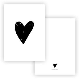Kaart Hart zwart ( PER 5 STUKS )