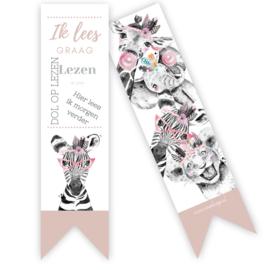 Boekenlegger Zebra roze ( per 5 stuks )
