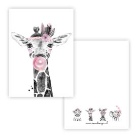 Kaart lieve giraffe roze ( PER 5 STUKS )