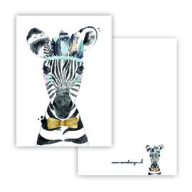 Lieve zebra blauw ( PER 5 STUKS )