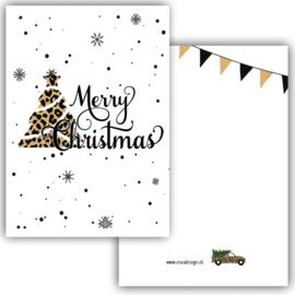 Kerstkaart Merry Christmas Tree leopard ( PER 5 STUKS )