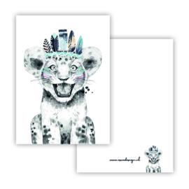 Lieve leeuw blauw ( PER 5 STUKS )