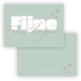 Mini kerst kaart Fijne feestdagen groen ( PER 5 STUKS )
