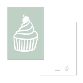 Mini kaartje cupcake groen ( PER 5 STUKS )
