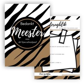 Kaart Meester Zebra bruin ( PER 5 STUKS )