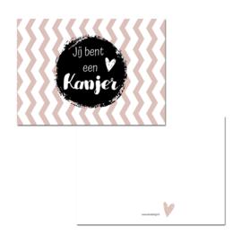 """Kaart """" Jij bent een kanjer """" roze ( PER 5 STUKS )"""