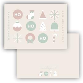 Mini kerst kaart Ho Ho Ho pastel ( PER 5 STUKS )