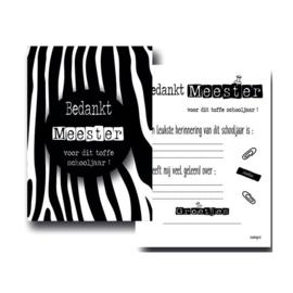 Bedankt meester zwart wit zebra ( PER 5 STUKS )