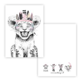 Kaart lieve leeuw roze ( PER 5 STUKS )