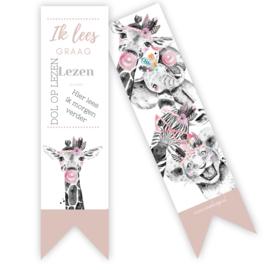 Boekenlegger Giraffe roze ( per 5 stuks )