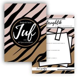 Kaart Juf Zebra roze ( PER 5 STUKS )