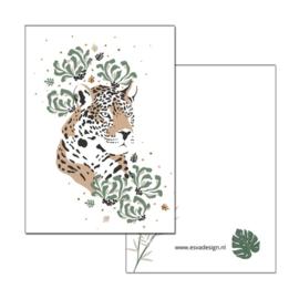 Kaart Jungle Luipaard hoofd( PER 5 STUKS )