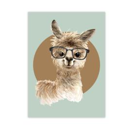 A4 poster Alpaca groen ( PER 2 STUKS )