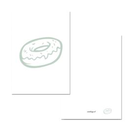 Mini kaartje donut groen/wit ( PER 5 STUKS )