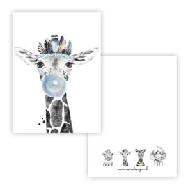 Kaart lieve giraffe blauw ( PER 5 STUKS )