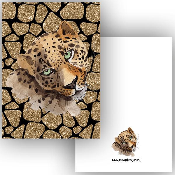 Kaart Leopard zwart ( PER 5 STUKS )