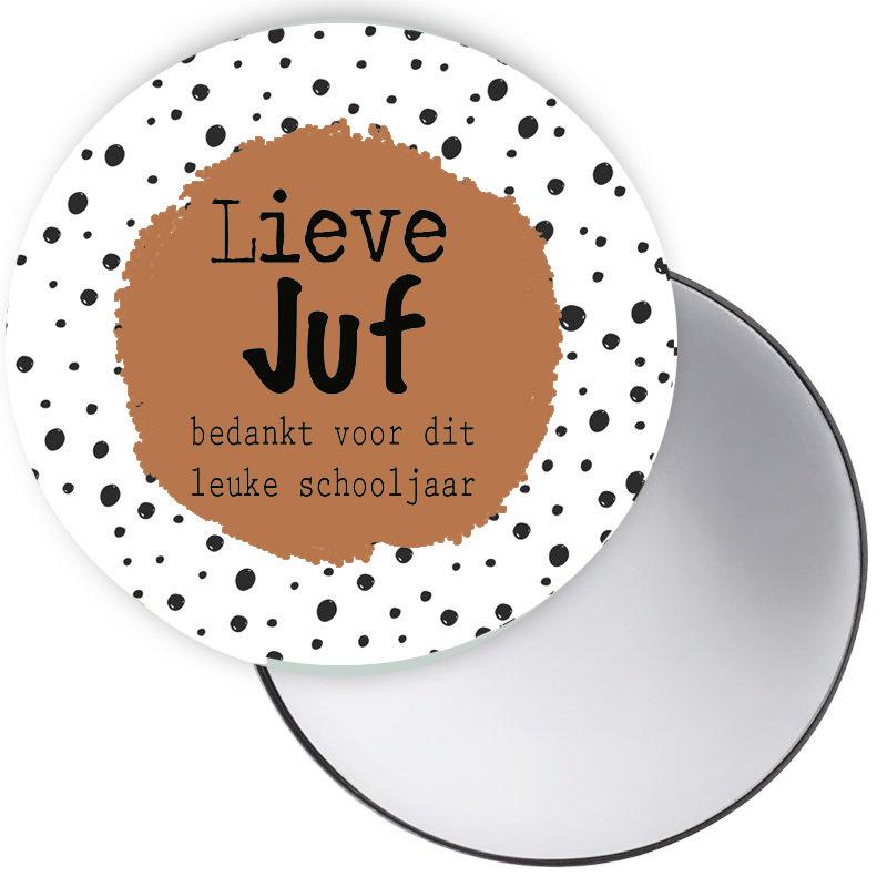 Spiegeltje Lieve Juf cognac ( PER STUK )