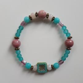 Armband Turquoise en roze