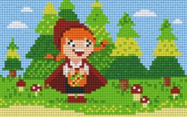 Pixelhobby set - rood kapke - 2 basisplaten