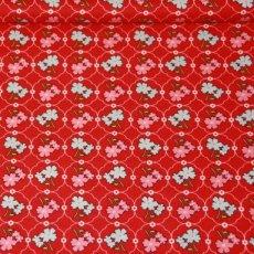 Katoen - Vintage floral red