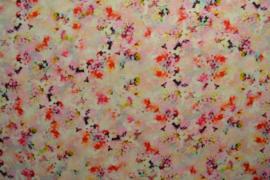 Linnen/viscose - flowers white