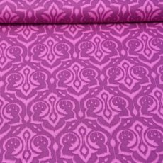 Katoen - Emma's garden ikat damask purple