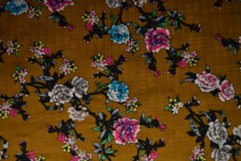 Katoen/viscose - flowers ochre