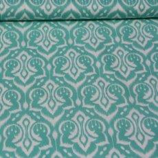 Katoen - Emma's garden ikat damask mint